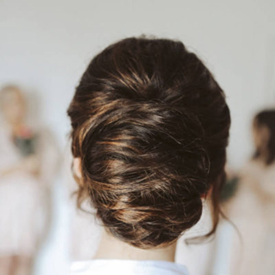 Brunette wedding updo