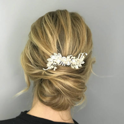 texturerd blonde bun with bridal accessory by makeover Box