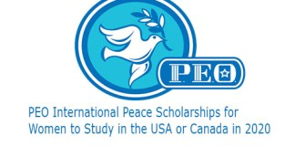PEO International Peace Scholarships for Women to Study in the USA or Canada in 2020