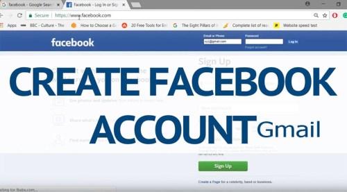 Create Facebook Account Gmail
