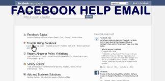 Facebook Help Email