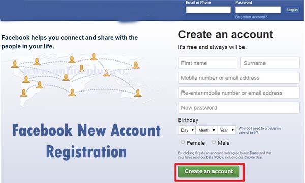 Facebook New Account Registration