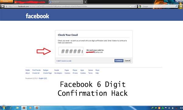 Facebook 6 Digit Confirmation Hack