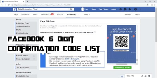 Facebook 6 digit Confirmation Code list