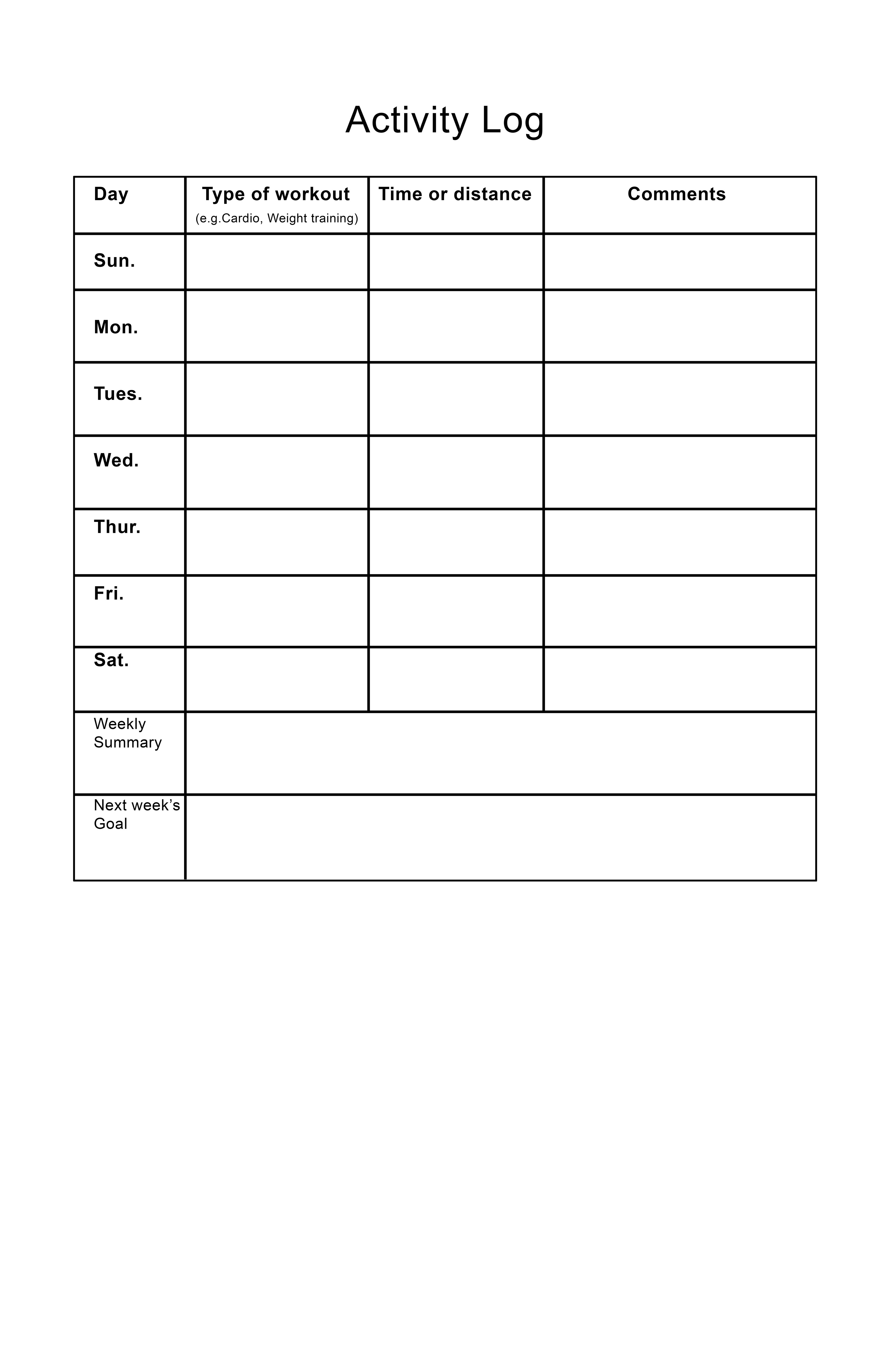 Exercise Activity Logs
