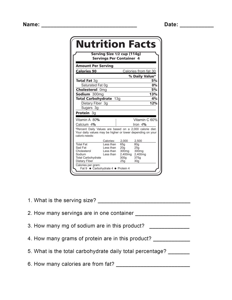 Nutrition Label Worksheet Answer Key Pdf Besto Blog – Food Label Worksheet