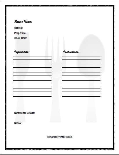 Printable Recipe Journal
