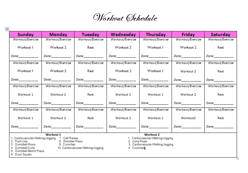 workout schedule for women you can download and print