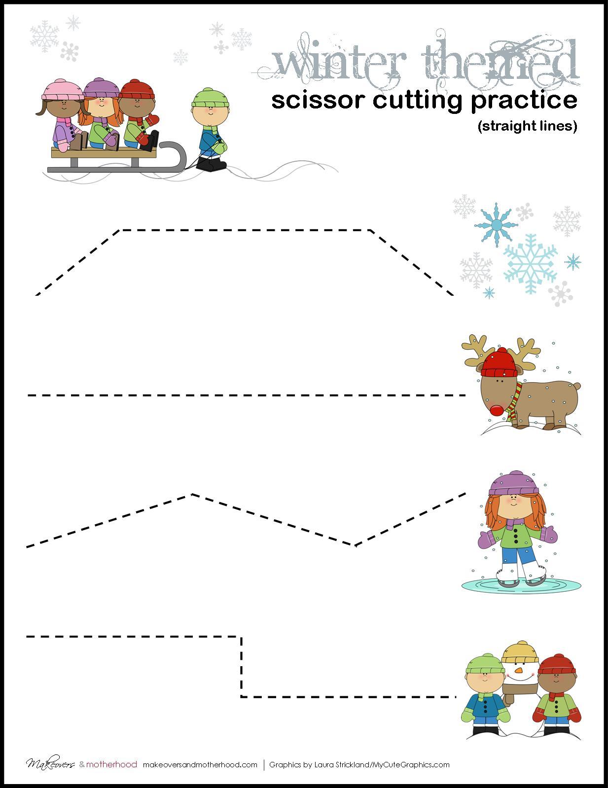 Winter Scissor Cutting Practice Sheets Printables