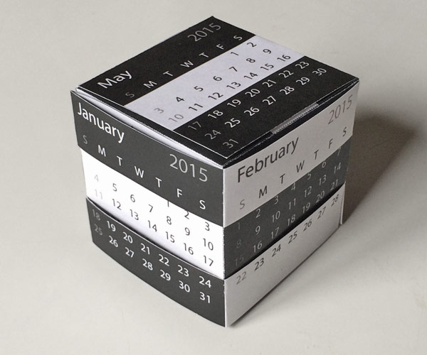 2015 Printable Desk Calendar Template Gift And Puzzle Box