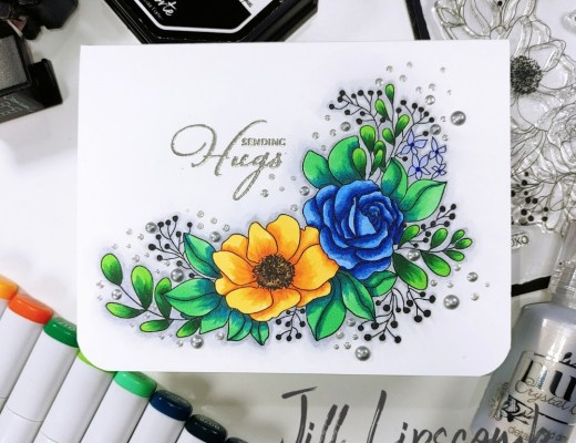 Copic one layer card florals main image