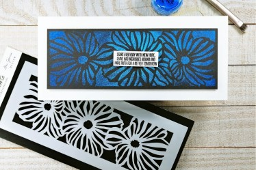 Bold Card with stencils and kaleidoscope powders cover