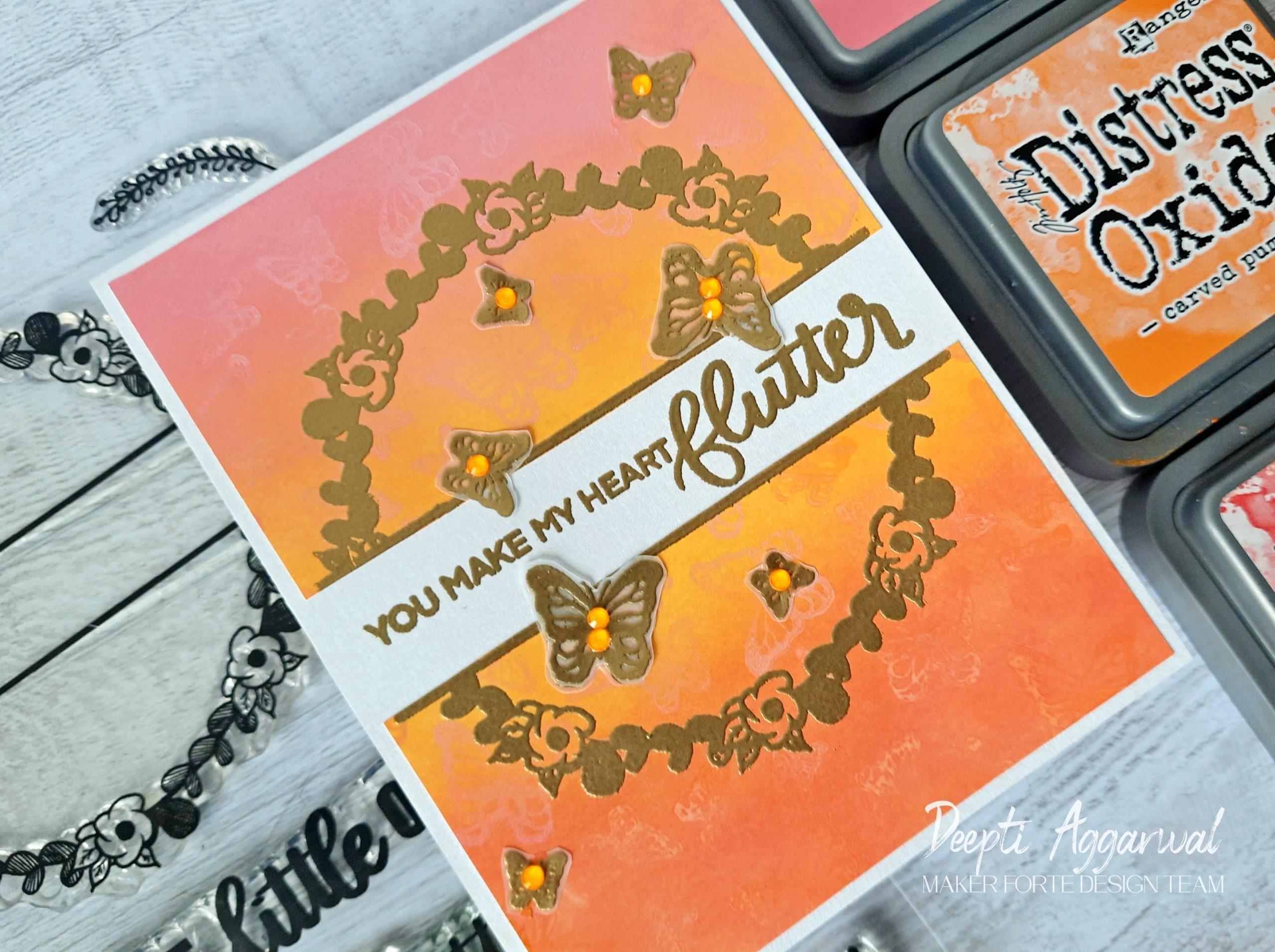Flower wreath Butterfly card