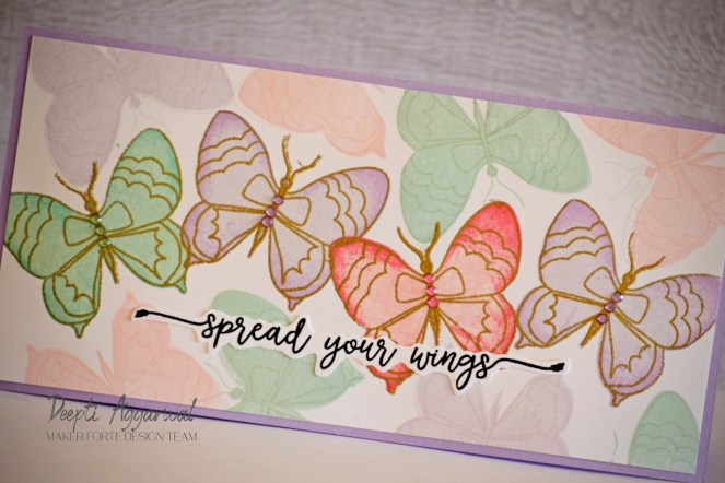 Slimline butterfly card using Layering stamping technique.