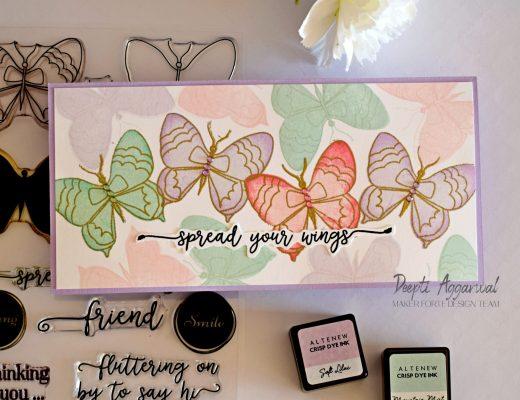 Layered butterflies - Slimline card