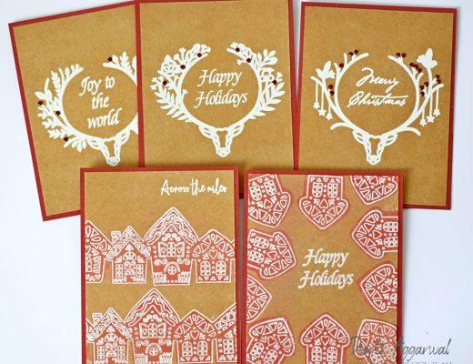 Kraft Christmas Cards using Maker Forte Stamps