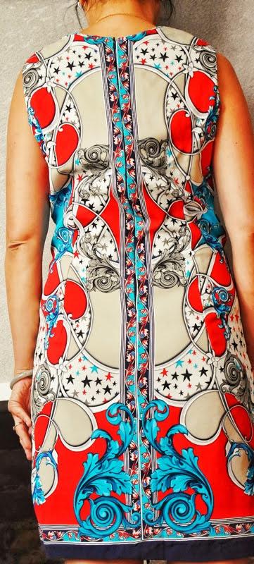 match pattern fabric on a shift dress