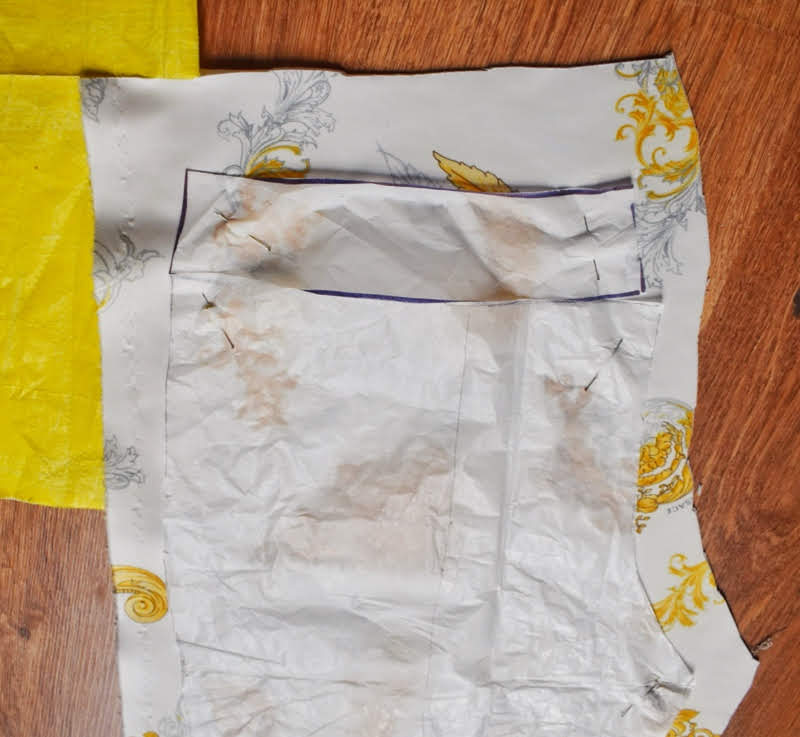 cut out pants pattern on fabric