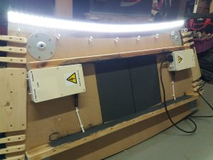 the underside of the desk top with LEDs installed
