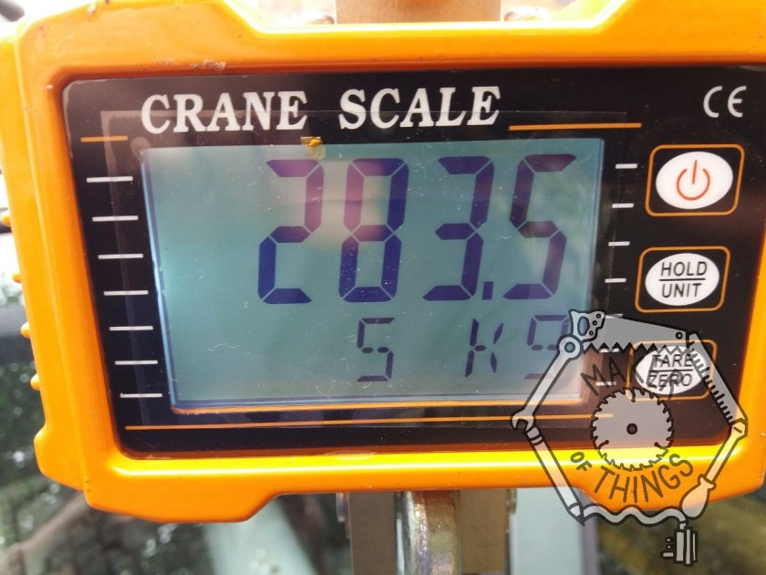 The crane scale showing 283.5kg.