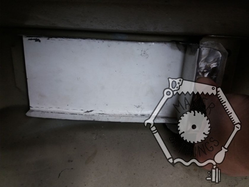 The made up bit of steel sheet test fitted un the tunnel under the car where the gear shift mechanism used to be.