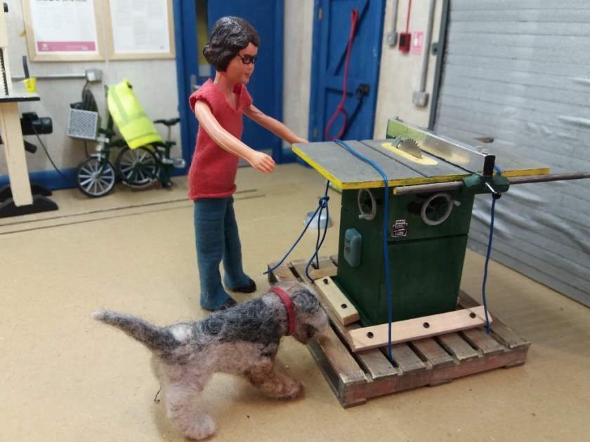 Harriet and Monty Dog are in the workshop. The shutter is back down and they are both looking at the table saw on the pallet.