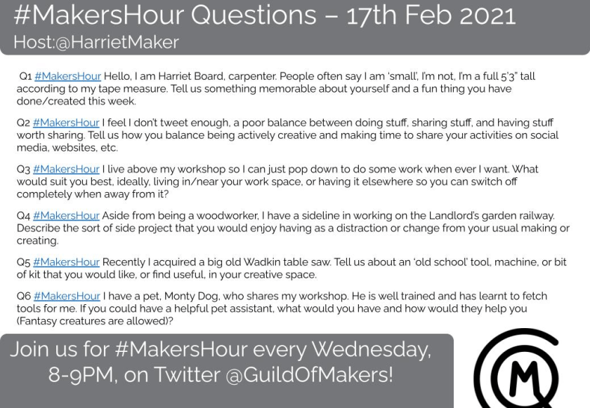 Screen shot image of the @GuildOfMakers #MakersHour questions