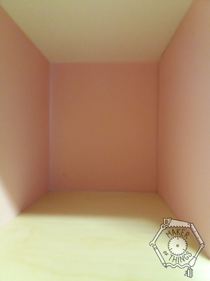 A close up view of the pink bathroom.
