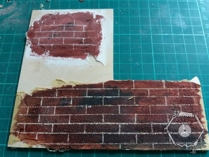 Two test patches for making scale textured brickwork.