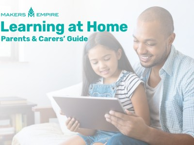 Father and daughter using a tablet device together at home