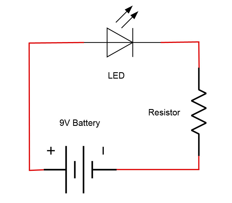introduction to basic electronics, electronic components and projectsled schematic diagram2