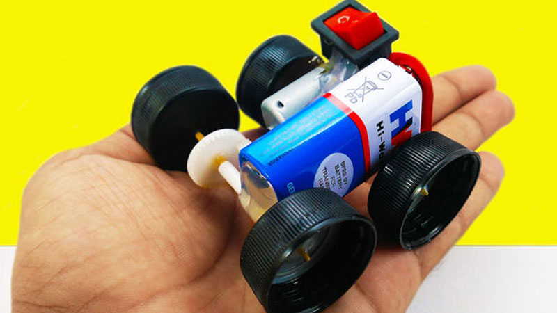 9v mini electric car makerspace projects