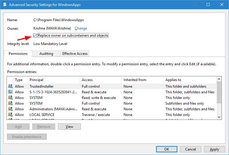 WindowsApps-Ordner-Apply-Berechtigungsänderungen