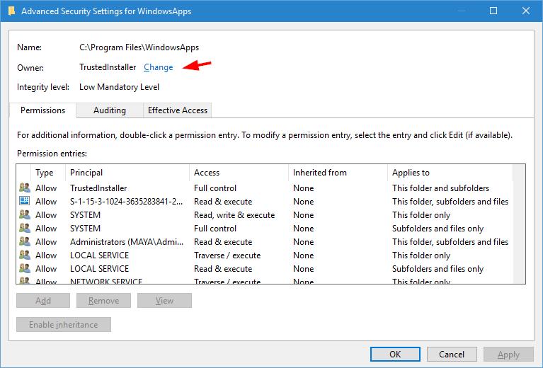 WindowsApps-Ordner-Klick-wieder-ändern