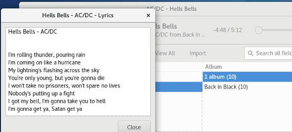 Song Lyrics In Rhythmbox