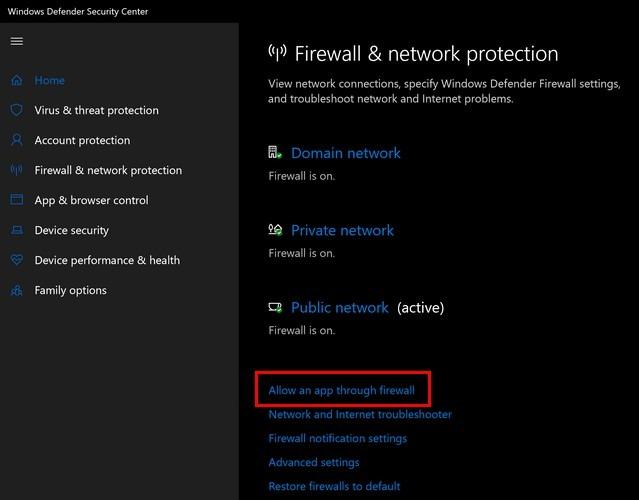 Fehler Firewall