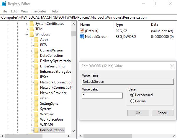 Beste Windows Registry Hacks Nolockscreen