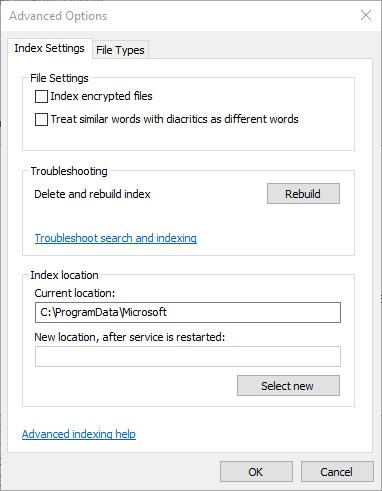 Korrigieren Sie den Index für die nicht funktionierende Windows-Suche