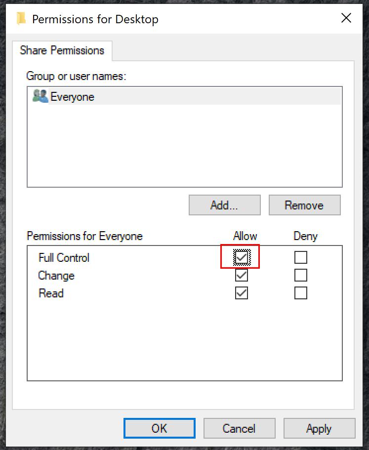 Freigabeberechtigungen für Windows-Ordner