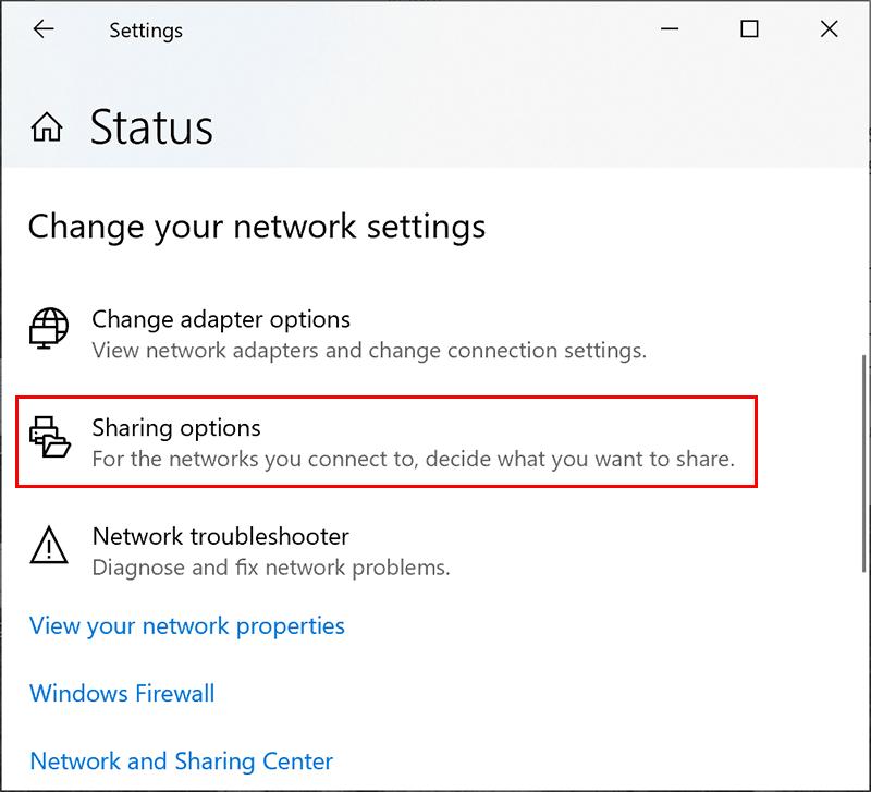 Einstellungsmenü für die Windows-Netzwerkfreigabe