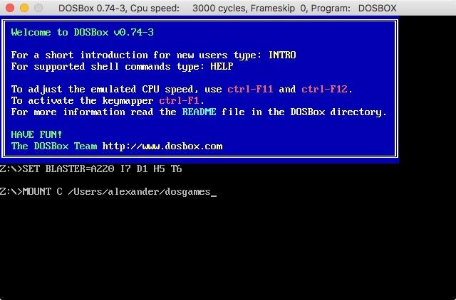 DOSbox-Befehl zum Mounten des Verzeichnisses