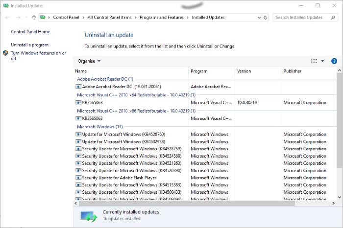 Windows 10 Update-Probleme Deinstallieren Sie Updates