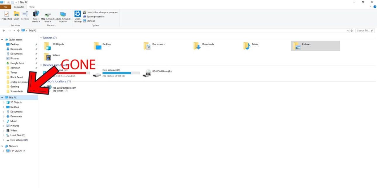 Onedrive im Windows Explorer-Header des Datei-Explorers ausblenden