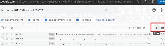 Google Mail-Filter sortieren Daterange Older