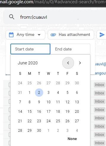 Sortieren Sie Google Mail-Filter nach Datumsbereich