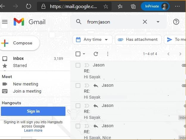 Sortieren von Google Mail-Filtern Name Absender