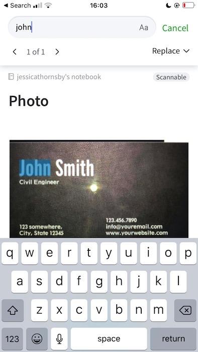 Suchen nach Text in einem Bild mithilfe der Hauptanwendung von Evernote.
