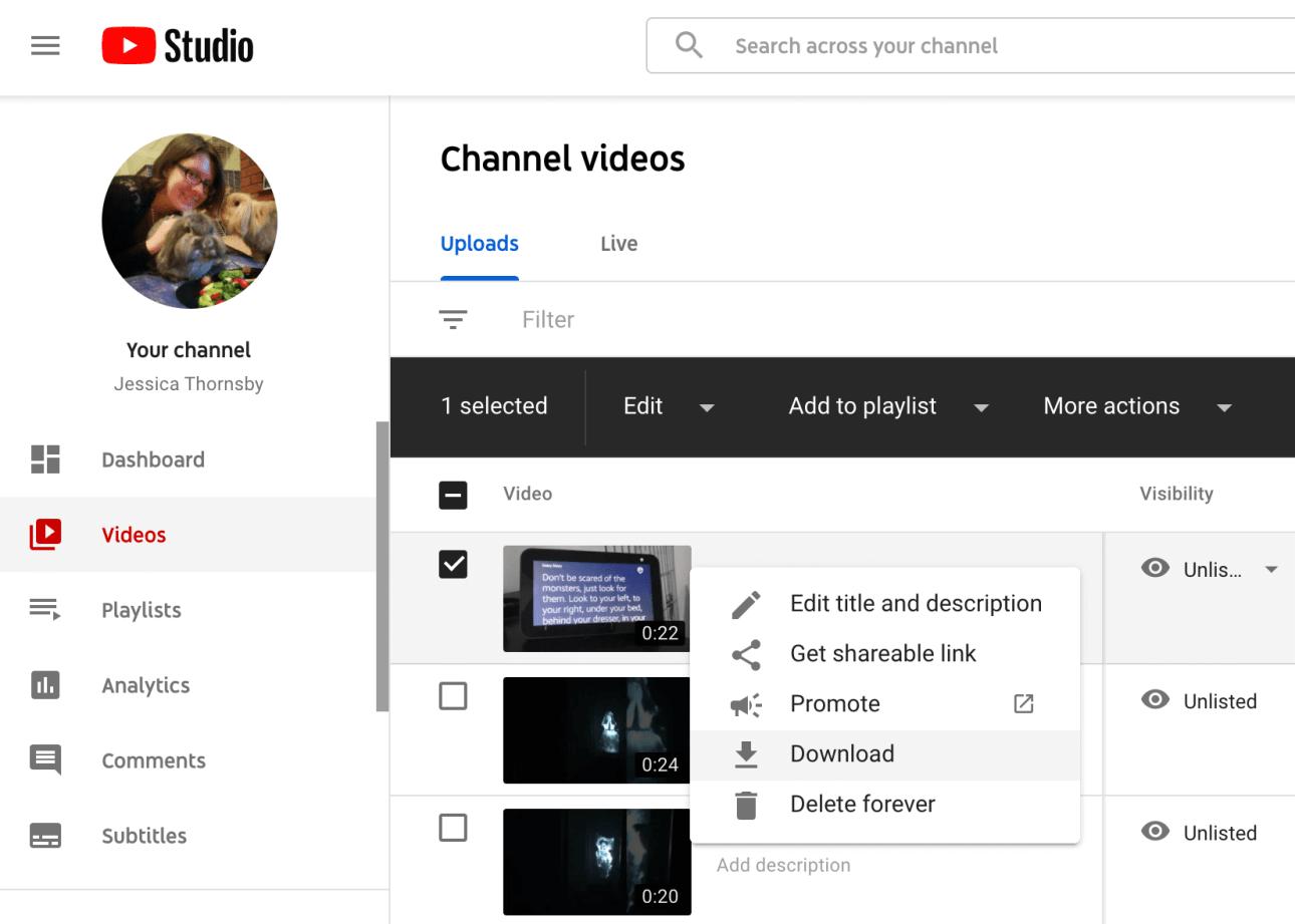 Herunterladen eines YouTube-Videos über YouTube Studio.