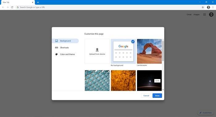 So ändern Sie den Hintergrund der Google-Suche Wählen Sie Image Chrome Desktop aus