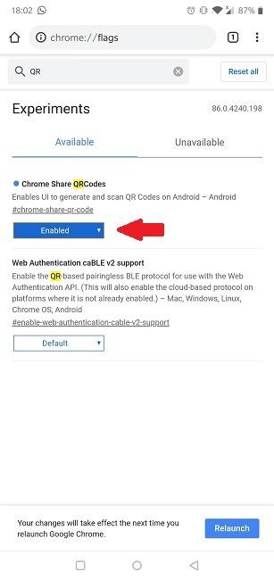 Qr-Code Chrome Chrome Share Mobile aktiviert
